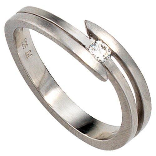 Dreambase Damen-Ring mattiert Platin 950 1 Diamant 0.09 ct. 56 (17.8)