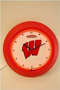 """Wisconsin Badgers 13"""" Neon Clock"""