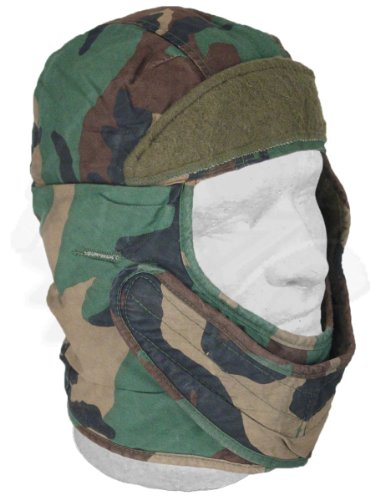 M-65 cold weather insulating helmet liner cap, woodland camouflage