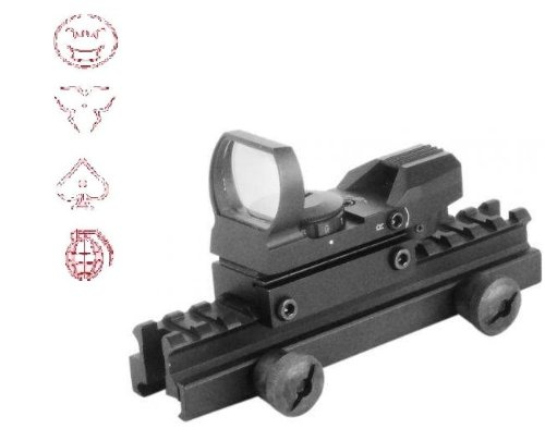 "Global Sportsman Qd Tactical 1"" Weaver-Picatinny High See Thru Stanag Riser Mount For Ar15 M4 Flattop Rifle Scope + Cqb 4 Multi Reticle Red Modern Destroyer Edition Open Reflex Sight With Weaver-Picatinny Rail Mount - Combo Combination Package Kit Set Fit"