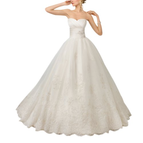 GEORGE BRIDE Elegant Strapless A-line Satin and Lace Wedding Dress