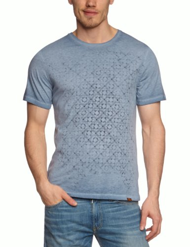 7 For All Mankind Graphic Jersey Printed Men's T-Shirt Light Blue Melange Medium - S651779BU