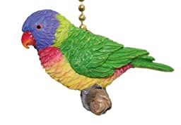 Tropic Rainbow Lory Lorikeet Parrot Ceiling Fan Light Pull