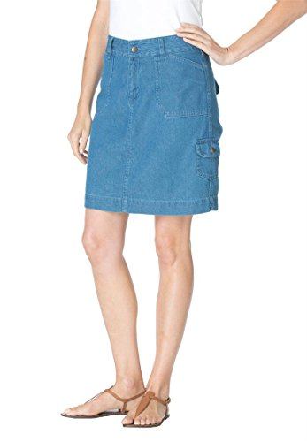 Women's Plus Size Denim Skort Medium Stonewash,20 W