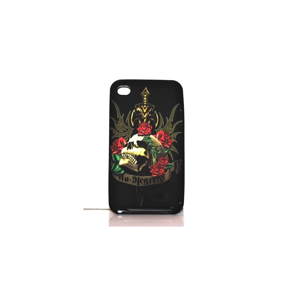 Black Sword Skull Design Soft Silicone Tpu Skin Gel Cover Case for Apple Ipod Touch Itouch 4 4g 4th Gen + Lcd Screen Guard + Microfiber Pouch Bag