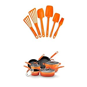 Rachael Ray 16-Piece Cookware Bundle, Orange