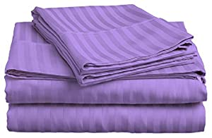 FULL SIZE STRIPED Bed Sheet set, LILAC