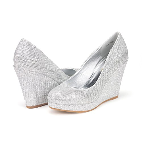 DREAM PAIRS ASH-P Women's Elegant Closed Toe Wedge Platform Pumps Shoes SILVER SIZE 8.5
