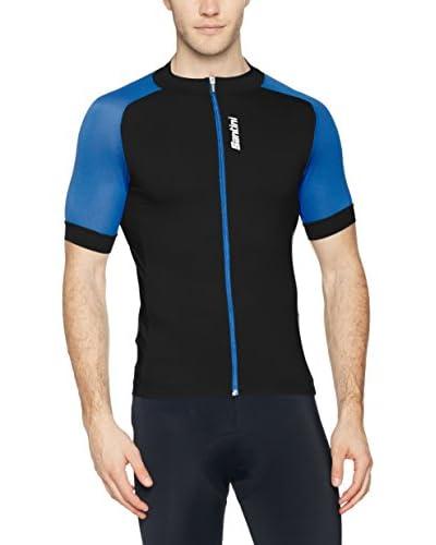 Santini Maillot Ciclismo Negro / Azul