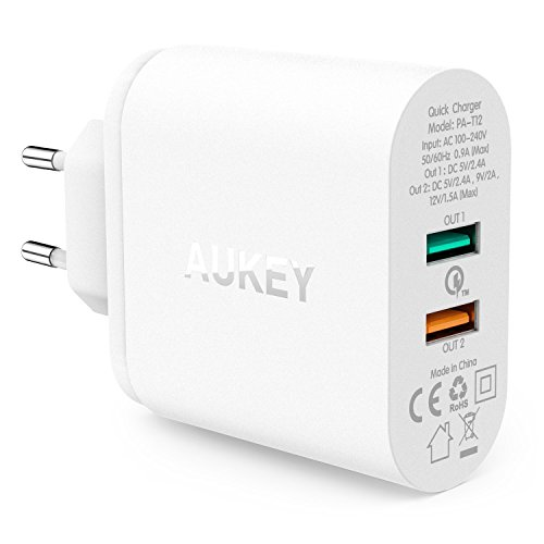 AUKEY-Quick-Charge-20-Cargador-de-Pared-Dual-Puerto-USB-Enchufe-Europeo-con-Tecnologa-AiPower-para-iPhone-iPad-Samsung-Galaxy-S7-HTC-LG-Motorola-etc-Cable-Micro-USB1m-Negro