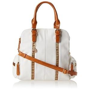 BIG BUDDHA JAlycee Satchel Top Handle Bag,White,One Size