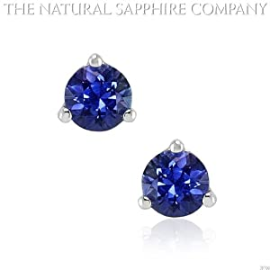 14k white gold 3-prong earrings with .45ctw round unheated sapphires (J3700)