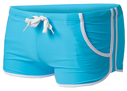 Linemoon Men's Solid Boxer Swimming Briefs With Tie Front Light Blue 27-30 Inches (Party Shops Brighton)