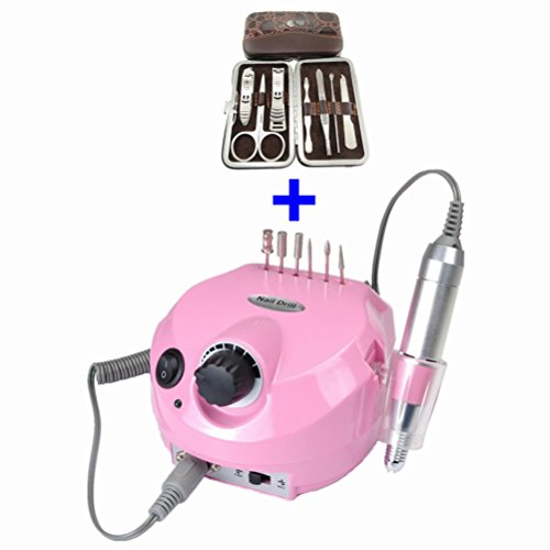 Hot Sale!!! Belle Pro Improved Overheat Vibration 30000 Rpm Electric Nail Drill Kit + + Deluxe Vogue 7 Pcs Crocodile Nail Care Personal Manicure & Pedicure Travel & Grooming Kit