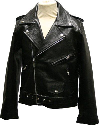 Childrens Kids Brando - Leather Motorcycle Biker Jacket Black - 34 / 14yrs
