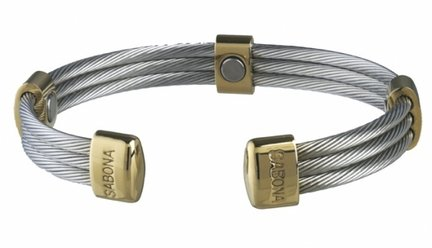 Trio Cable Stainless Steel / Gold Magnetic Bracelet from Sabona