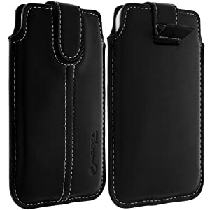 Mocca - POUCH L - Etui universel de protection noir surpiqué blanc avec languette pull up pour Smartphone et MP3 dimension 12.5 x 6.6 x 0.85 cm (Galaxy S2, Nokia Lumia 800,...) - Noir