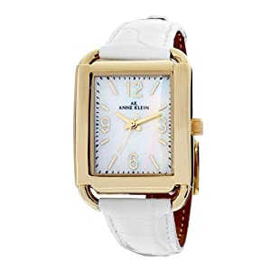Anne Klein Women's 109358MPWT Rectangular Gold-Tone and White Leather Strap Watch