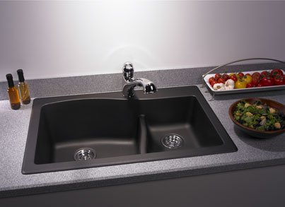 Best Price! Swanstone QZLS-3322.077 33-Inch by 22-Inch Drop-In Large/Small Bowl Kitchen Sink, Nero
