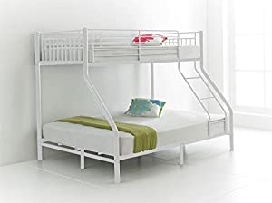 Happy Beds Cherry Metal Triple Sleeper Bunk Bed 3ft / 4ft6 With 2x Mattress New