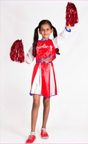 Cheerleader Costume for Girls with Pom Poms Red Size M L 6 7 8 9 10 11 12