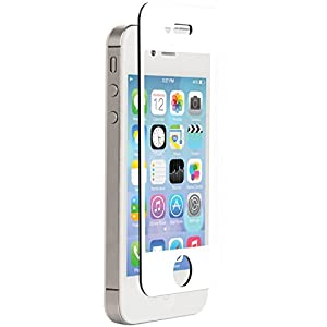Znitro Glass Screen Protector For Apple iPhone 4/4s - Retail Packaging - White Bezel