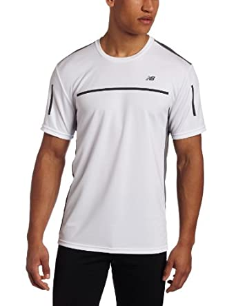 New Balance Men's Cool Lines Short Sleeve Top, Small, White