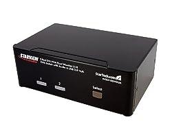StarTech.com 2 Port DVI VGA Dual Monitor KVM Switch USB with Audio & USB 2.0 Hub - Dual Monitor KVM Switch DVI and VGA