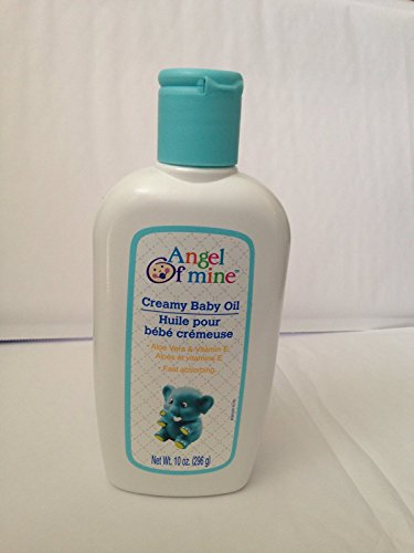 Creamy Baby Oil with Aloe Vera & Vitamin E - 10 oz,(Angel of Mine) (Pack of 2)