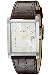 Citizen Men's BM6789-02A  Eco-Drive Brown Leather Strap and Stainless Steel Watch