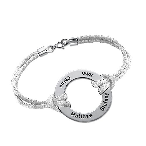 Engraved Infinity Circle Bracelet In Silver - Custom Made With Any Name! (5.5 Inches, White)