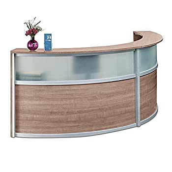 """Double Curved Reception Desk with Glass Panel - 123""""W x 48""""D Stone Walnut Laminate/Silver Trim Dimensions: 123""""W x 48""""D x 45""""H Weight: 338 lbs.Line Drawing"""