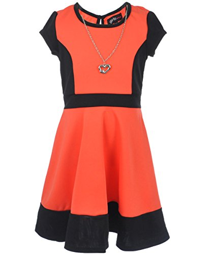 "Girls Hearts Big Girls' ""Colorblock Skater"" Dress with Necklace"