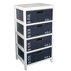meuble bois 4 tiroirs ardoise blanc et gris cuisine maison. Black Bedroom Furniture Sets. Home Design Ideas