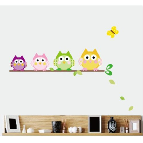 Mzy Llc (Tm) Colorful Owls On A Branch Nursery Art Vinyl Wall Stickers Decal For Children Courtyard Baby Room