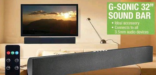 "G-Sonic 32"" 40W Stereo Sound Bar With Remote & Fm Radio"