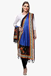 Riti Riwaz Royal Blue & Black Art Silk Printed Dupatta BG223