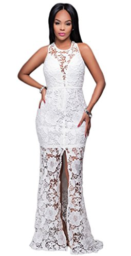 Kearia Women Sexy Nude Illusion V Neck Lace Split Front Evening Party Long Maxi Dress White Small (Split Front Prom Dress compare prices)