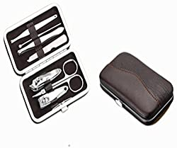 Homeoculture Manicure / pedicure 7 in 1 DIY handy kit | Awesome packaging and easy to carry (DarkBrown)