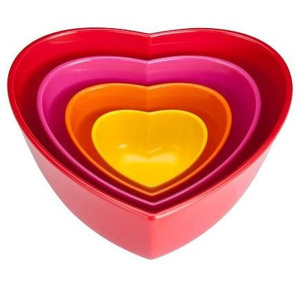 Zak Heart Shaped Nested Bowl Set, Multi-color