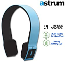 buy Astrum Raga Bt Hs240 Bluetooth Csr 4.0 Wireless Stereo Headphones Headset Earphones W Built-In Mic For Apple Iphone, Ipad, Samsung, Nexus, Lg, Sony, Htc - Compatible With Most Smartphones - (Blue)