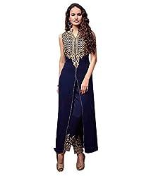 Smart Buy Women's Georgette Column Unstitched Dress Material (modi-Georget-blue-mf-154_Blue_Free Size)