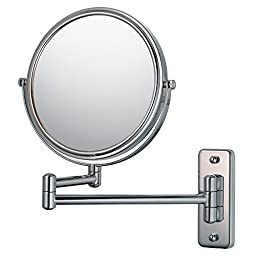 Mirror Image 21145 Double Arm Wall Mirror, 7.75-Inch Diameter, 1X and 5X Magnification, Chrome