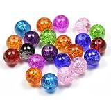Imagine Perles - Lot 50 Perles de verre craquelé 10 mm multi couleurs