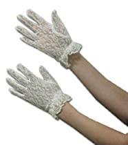 Lace Gloves for Girls in Wrist Length Glove Color and Type: White Age 4-7