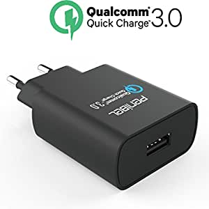 Penibel [Qualcom Certified Quick Charge 3.0] 18W USB Charger adapter, fast adaptive Rapid Turbo charger 80% faster then normal charger with 5V/9V/12V with SmartFIT IC for Compatible smartphone. tablet and fully backward compatible with QC 2.0 QC3.0 and standard regular USB charging with 5V [ 1 mtr USB Cable Included]