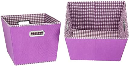 Household Essentials Medium Tapered Bins Purple with Purple and White Gingham Set of 2