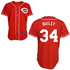 Homer Bailey Cincinnati Reds Alternate Red Replica Jersey by Majestic by Majestic