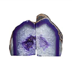 JIC Gem: Polished Dyed Purple Agate Bookend(s) - 1 Pair - 2 to 3 Lbs
