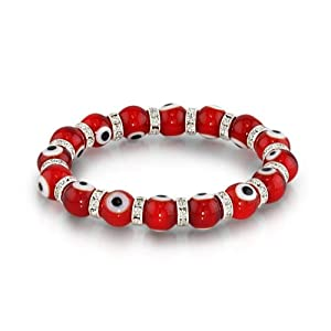 Bling Jewelry Evil Eye Beads 10mm Red Stretch Swarovski Crystal Bracelet 7.5 Inch